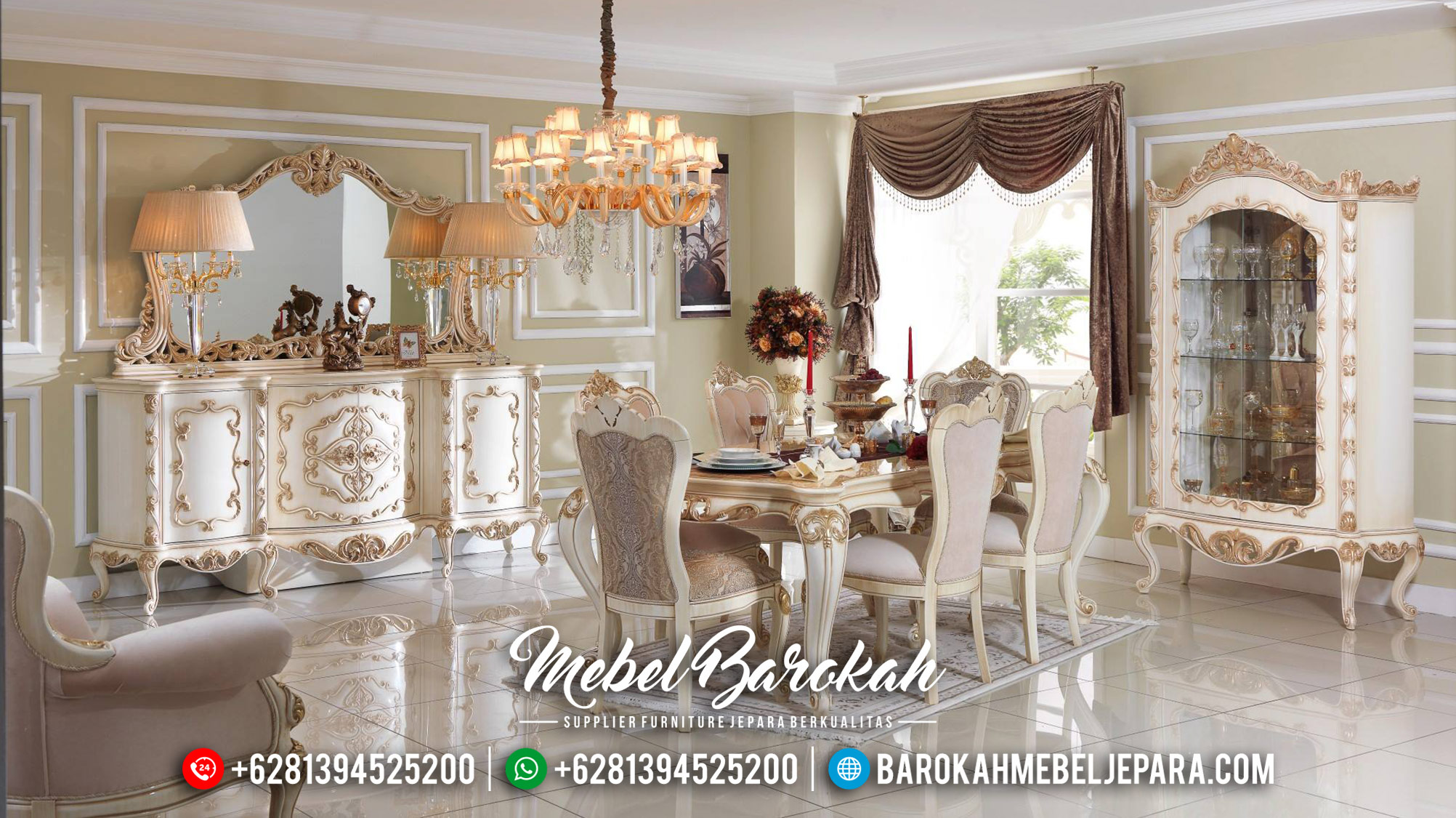 Meja Makan Mewah Putih Duco Glossy Mebel Jepara Terbaru MB-0456