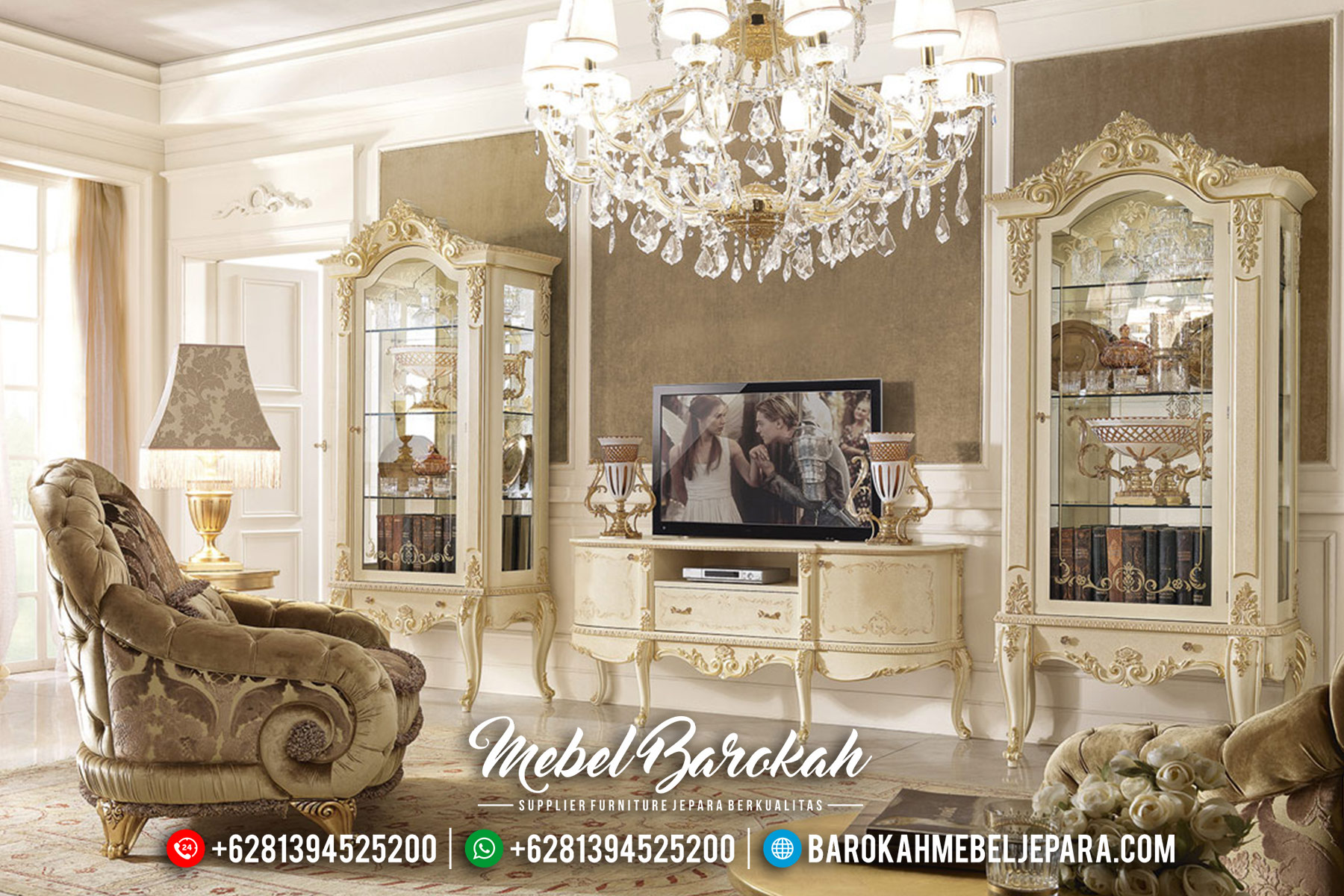 New Design Lemari Hias Jepara Mewah Set Bufet TV Luxury Classic MB-0466