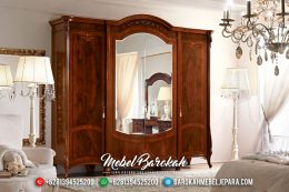 New Design Lemari Pakaian Mewah Jati Natural Dark Brown Classic MB-0481