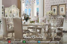 New Meja Makan Mewah Shepia White Duco Classic Furniture Jepara Luxury MB-0487