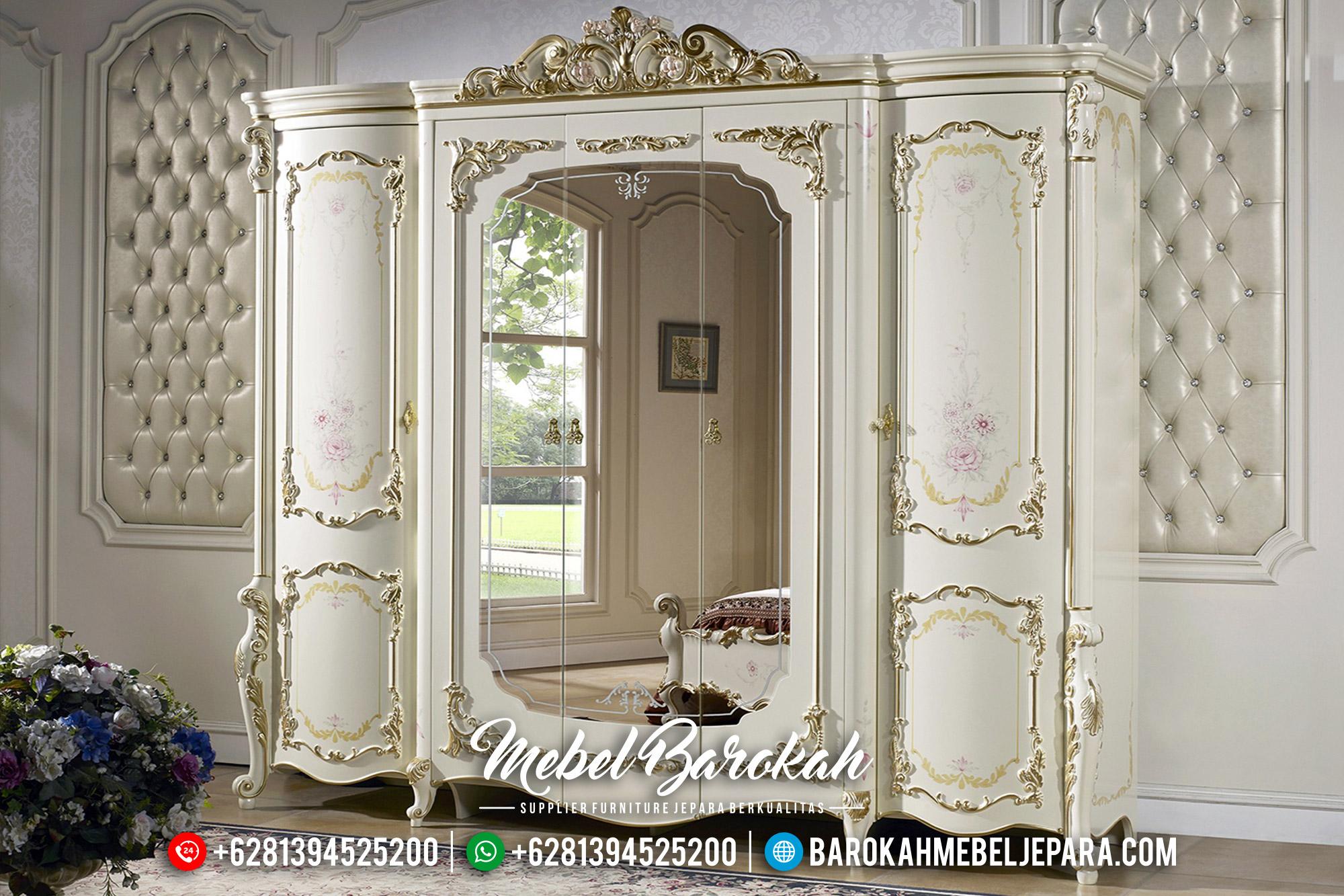 Desain Lemari Pakaian Cermin Ukir Jepara Mewah New Luxury Model MB-0502