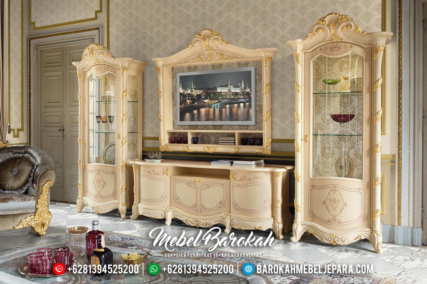 Bufet TV Mewah Luxury Classic Natural Jati Jepara MB-0520