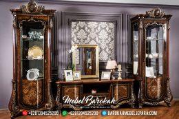 Bufet TV Mewah Jati Natural Veneer Combination Luxury Classic Jepara MB-0561