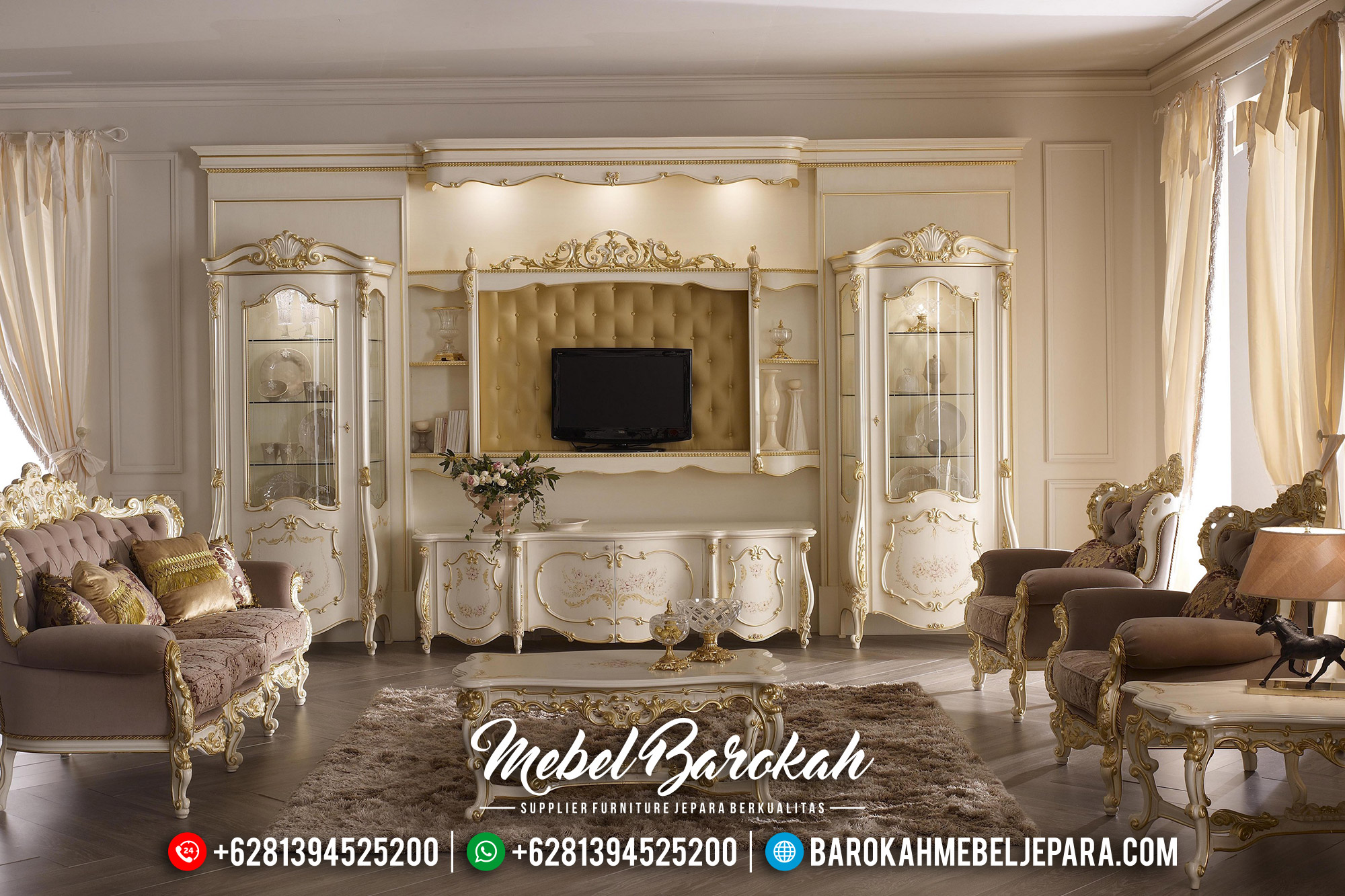 Desain Bufet TV Mewah Luxury Carving White Duco Elite Glossy Color MB-0567
