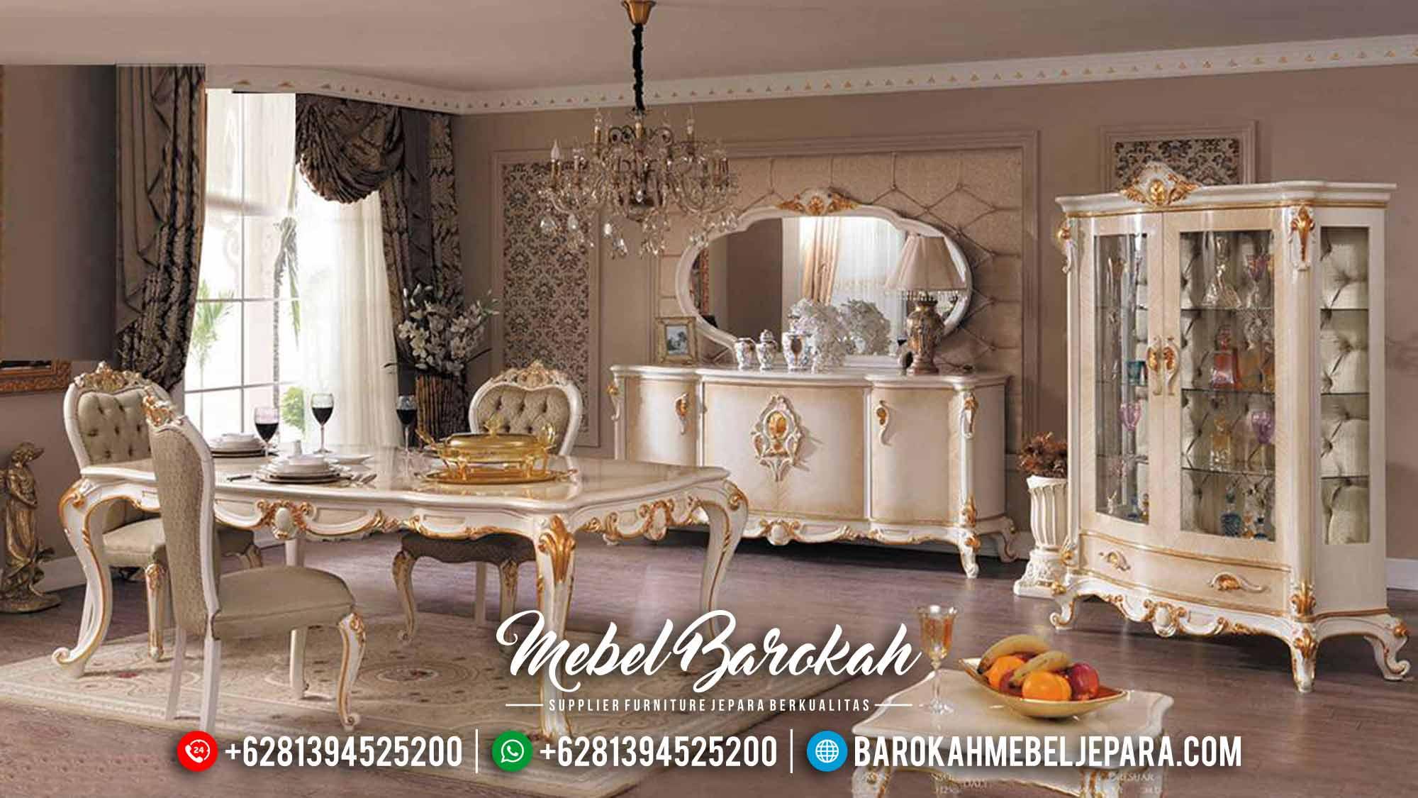 Elegant Type Meja Makan Mewah 6 Kursi Luxury Carving Mebel Jepara Terbaru MB-0556