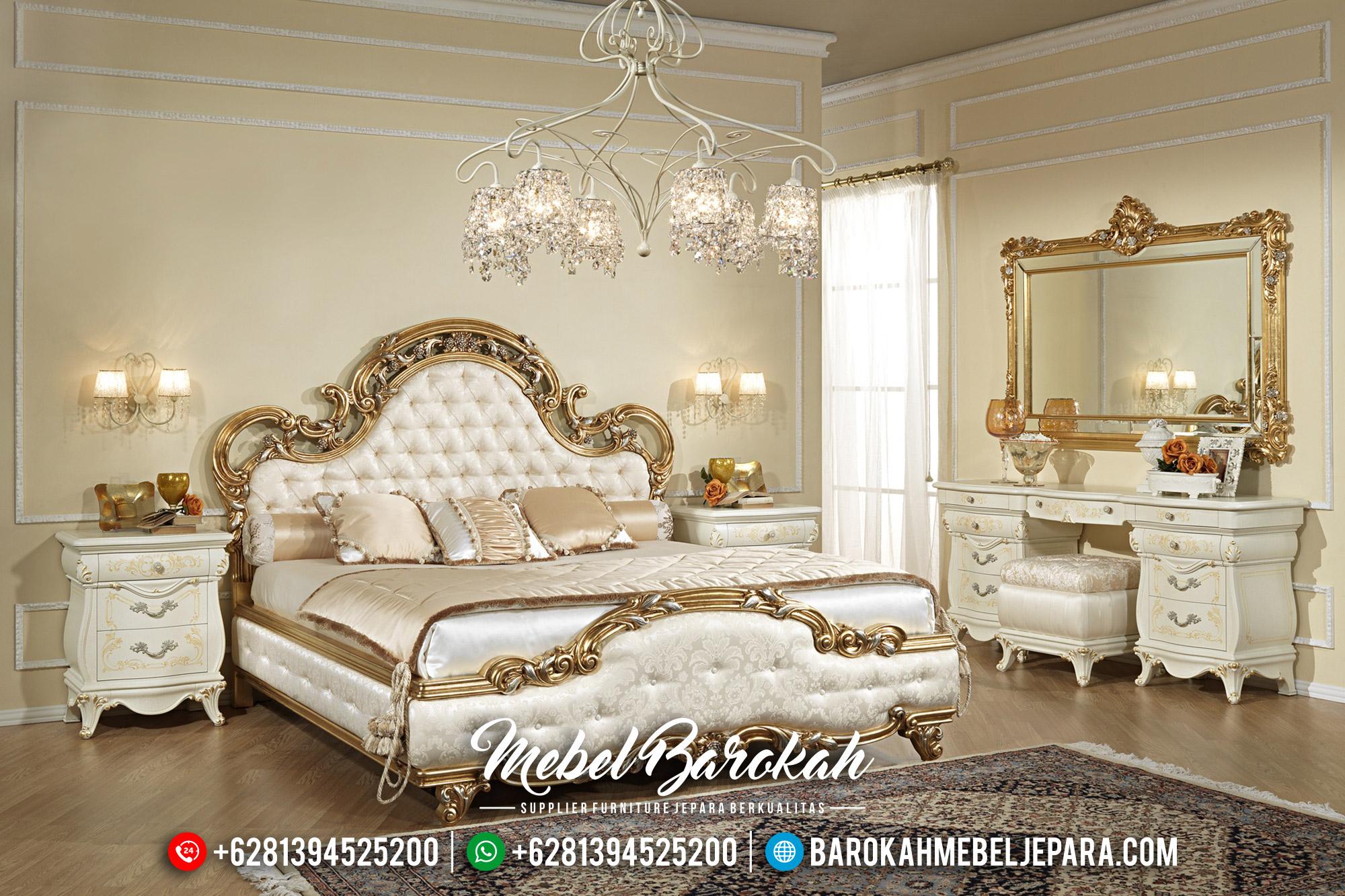 Fontana Tempat Tidur Ukiran Mewah Luxury Classic Golden Glossy Classy Antique MB-0542