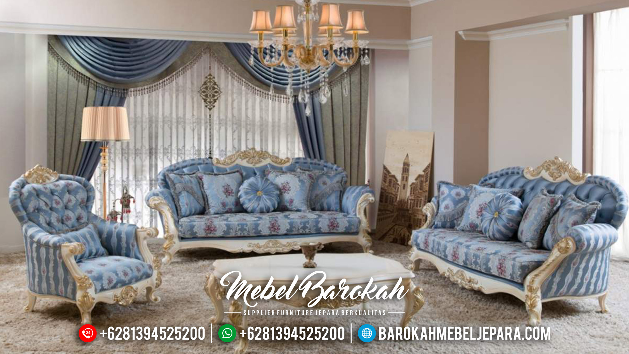 Furniture Jepara Sofa Tamu Mewah Ukiran Luxury Set Great Solid Wood MB-0580