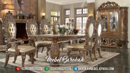 Great Luxury Product Meja Makan Mewah Ukir Jepara Model Emperial Rome Set MB-0536