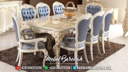 Harga Meja Makan Mewah Putih Duco Luxury Carving New Design 2020 MB-0570