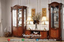 Jual Bufet TV Jati Ukiran Mewah Natural Luxury Classic Mebel Jepara Terbaru MB-0562