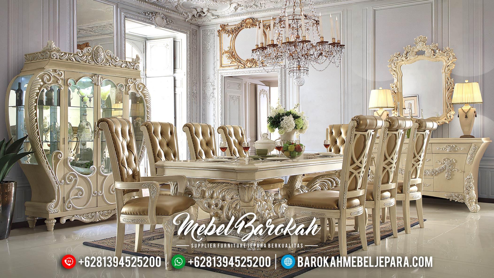 Jual Meja Makan Ukiran Mewah Glamorous Luxury White Ivory Classic MB-0535