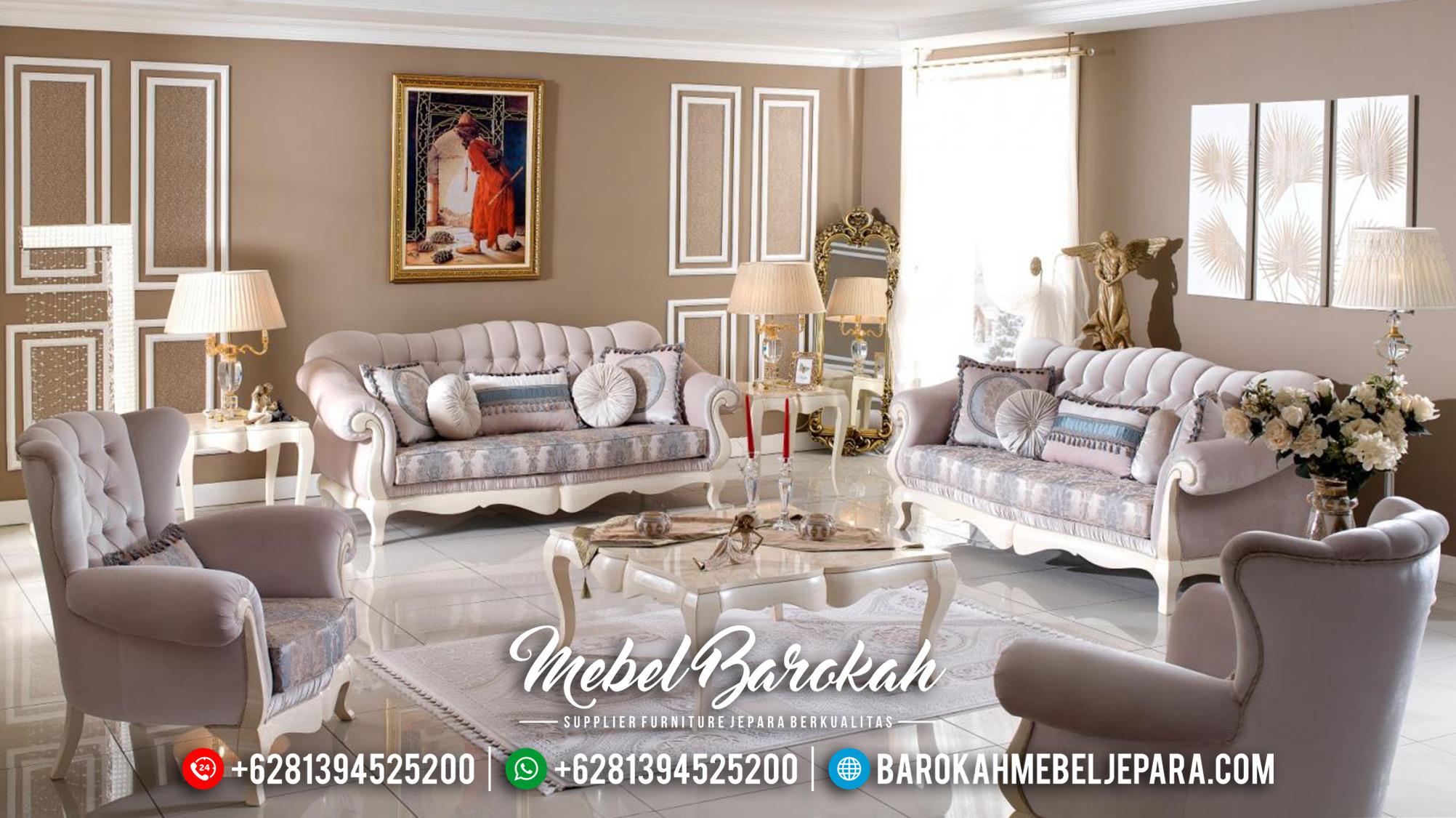 Luxury Style Sofa Tamu Mewah Putih Duco New Set Mebel Jepara Terbaru MB-0548