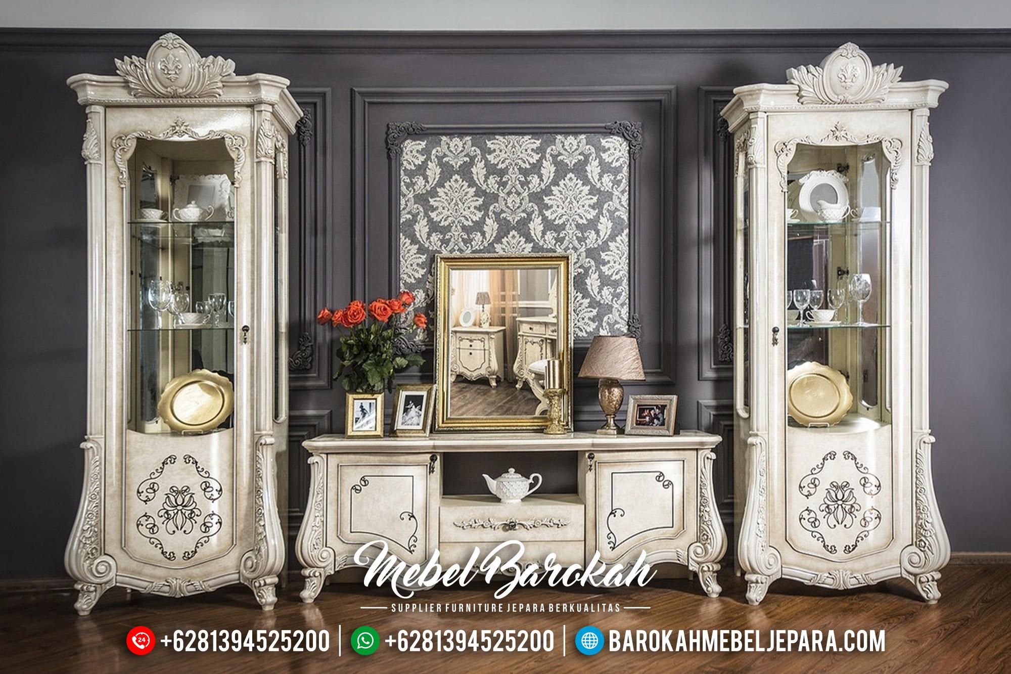 Model Bufet TV Mewah Jepara White Duco Luxury Carving Mebel Jepara Terbaru MB-0565