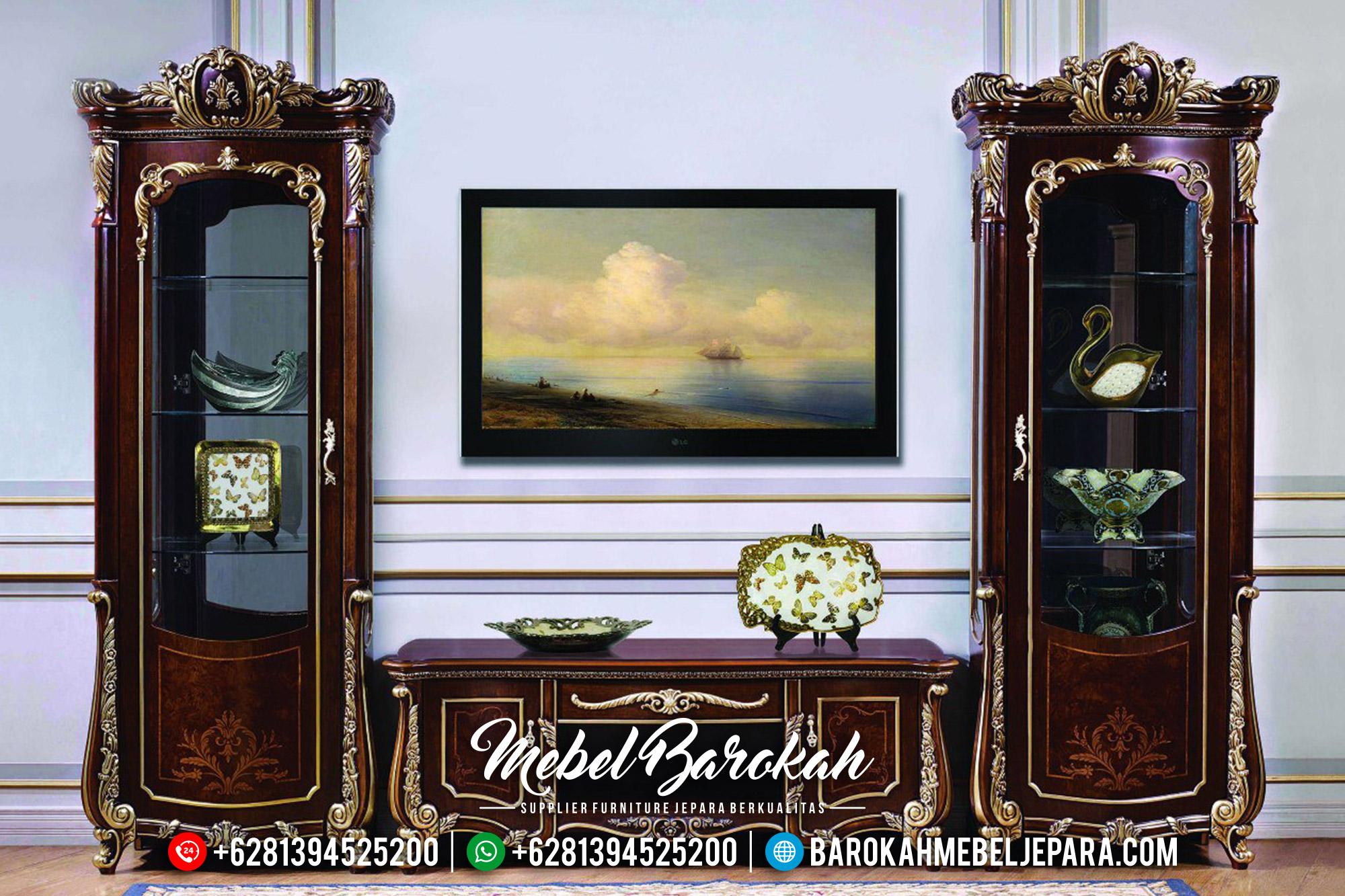 New Desain Set Meja TV Mewah, Lemari Hias Ukiran Kayu Jati Natural Classic Jepara MB-0563