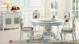 New Model Meja Makan Bundar Minimalis Putih Duco Great Solid Wood MB-0552