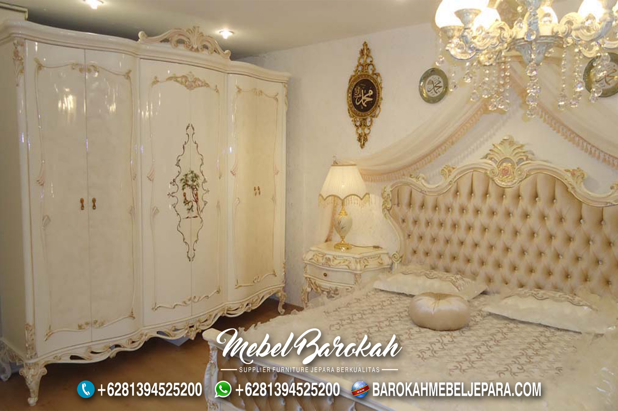 New Kamar Set Warna Putih Lukis Cantik MB-652