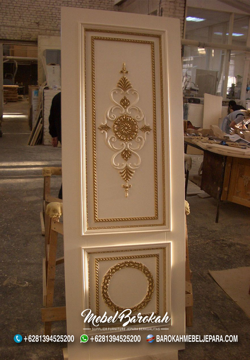 Pintu Rumah Ukir Modern Ivory Emas MB-762