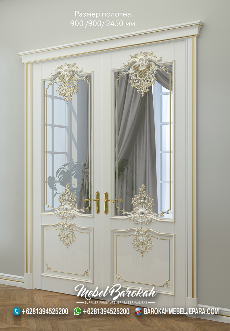 Pintu Rumah Versal Ukir Mewah Kombinasi Kaca MB-768