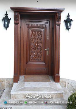 Kusen Pintu Natural Ukir Salak Brown Jati MB-790