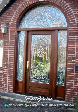 Pintu Rumah Custom Dengan Kaca Patri MB-834