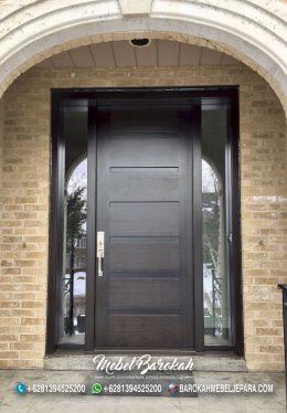 Pintu Utama Rumah Minimalis Jendela Kaca Samping MB-836