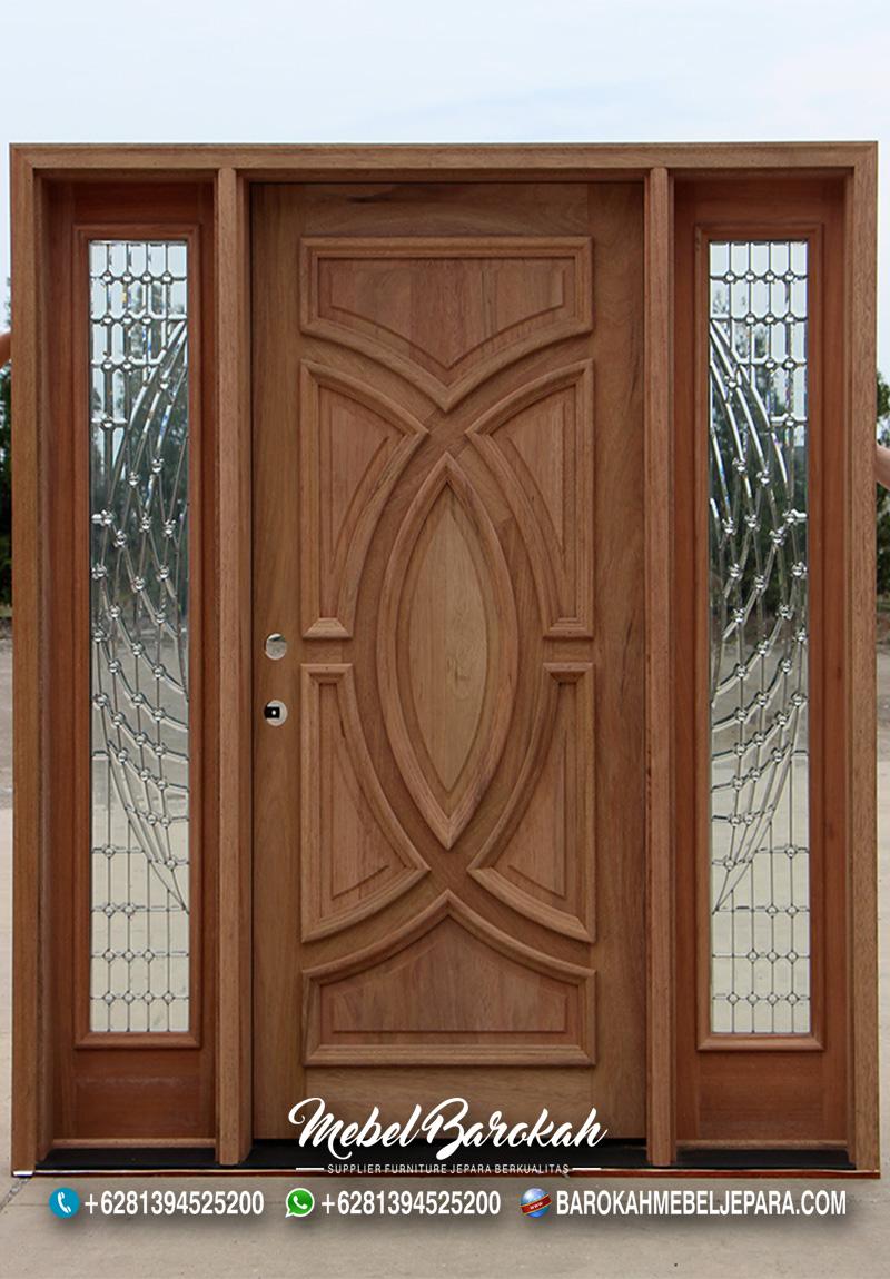 Pintu Eksterior Solid Mahoni Terlaris Kaca Samping MB-849