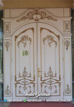 Gate Pintu Ukir Jepara Lengkung Duco Putih Kombinasi Gold MB-864
