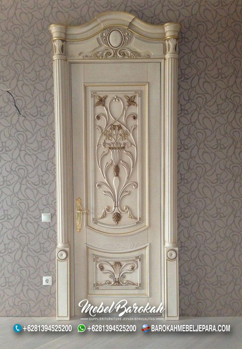 Pintu Rumah Ukir Motif Bunga Cantik Elegan Modern Bergaya Eropa MB-870