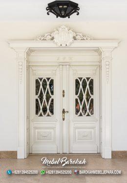 Pintu Klasik Modern Putih Kombinasi Kaca Mewah MB-794