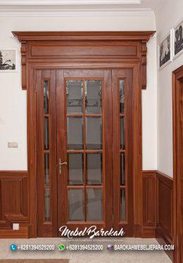 Kusen Pintu Rumah Kayu jati Murah Kombinasi Kaca MB-802
